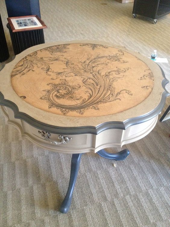 Round accent table painted with chalk paint in graphite for Painted coffee table ideas