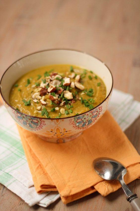 Velouté de courgettes et potiron au curry - curried zucchini pumpkin soup (vegan)