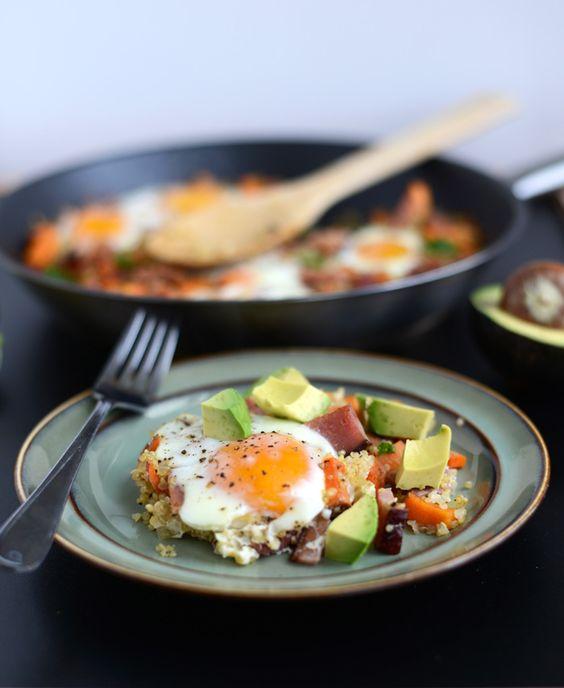 Quiona, eggs, ham, and avocado breakfast