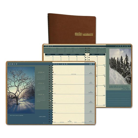"""Landscapes Weekly/monthly Planner, 8-1/2"""" X 11"""", Brown, 2016"""