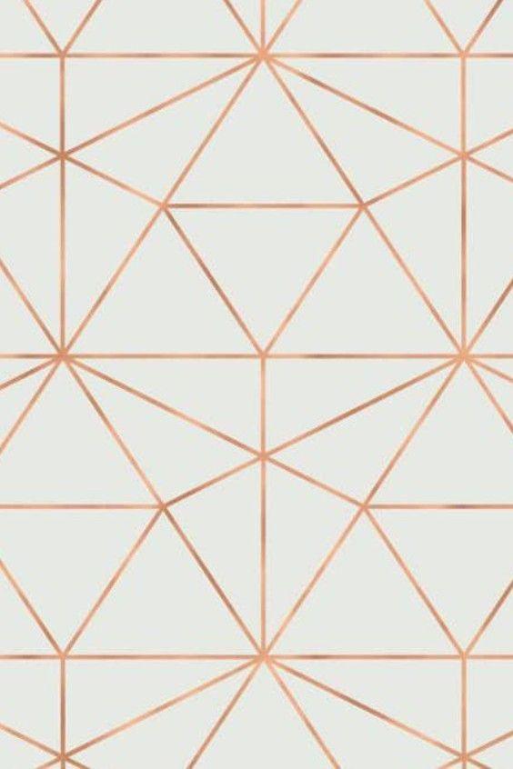 Olivia Poppy Graphic Quartz Traditional Vinyl In White Ivory Rose Gold Geometric Pattern Wallpaper Geometric Print Geometric Wallpaper