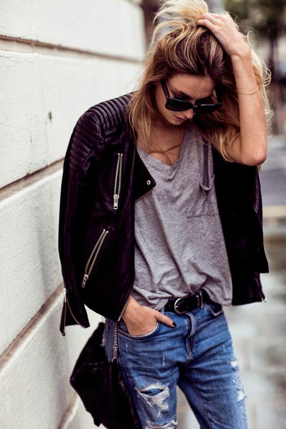 Moto + frayed denim + gray T: Boyfriend Jeans, Fashion Style, Style Fashion Clothing, Street Style, Jeans Leather, Grey Tee, Fashion Clothing Style, Street Styles, Leather Jackets