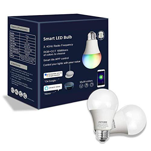 Peteme Led Smart Wifi Bulb A19 Led Smart Bulb White Rgb E26 7w Equivalent 60w Work With Alexa And Google Assistant With Led Smart Bulb Smart Bulb Smart Wifi