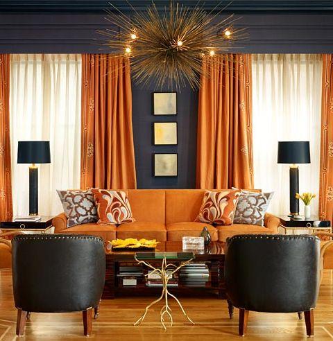 Adding color without having to paint. Drapes: Geoffrey De Sousa Interior Design:
