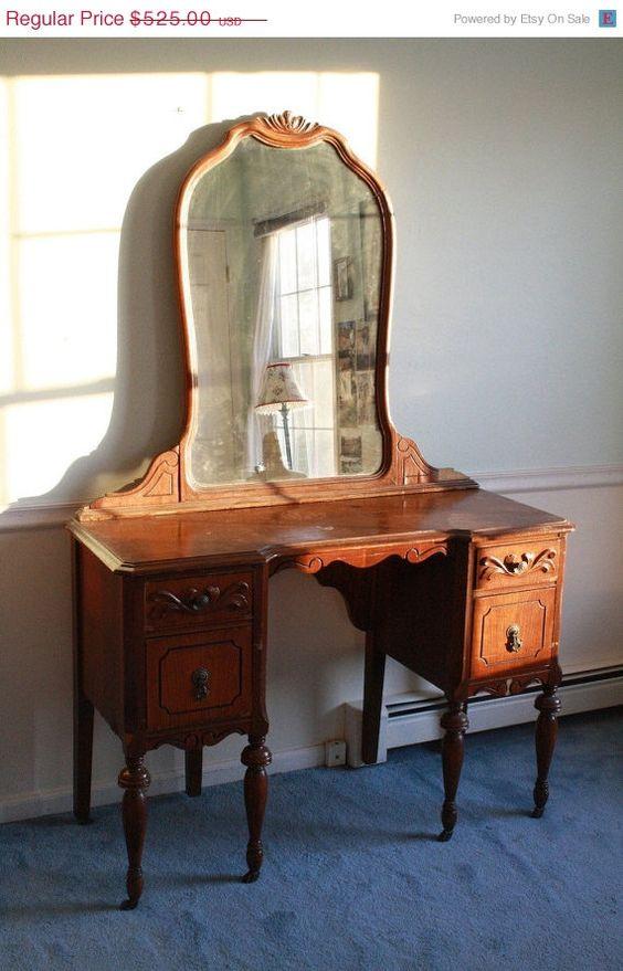 Antique 1940s Wooden Mahogany Mirrored Vanity Desk Table