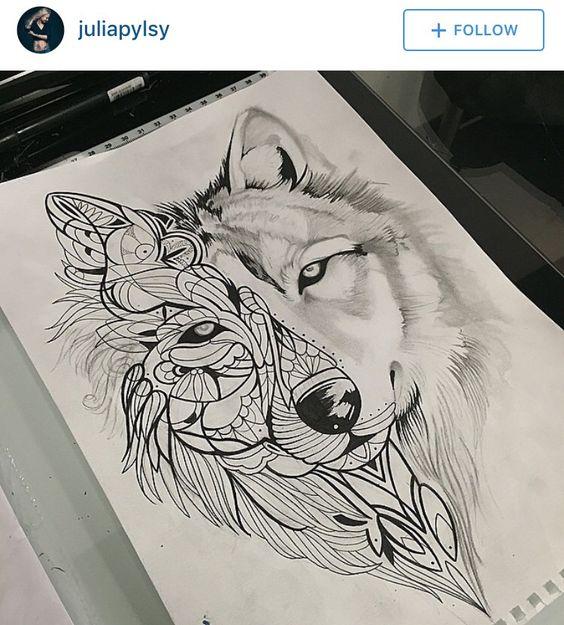 Pinterest le catalogue d 39 id es - Tatouage loup mandala ...