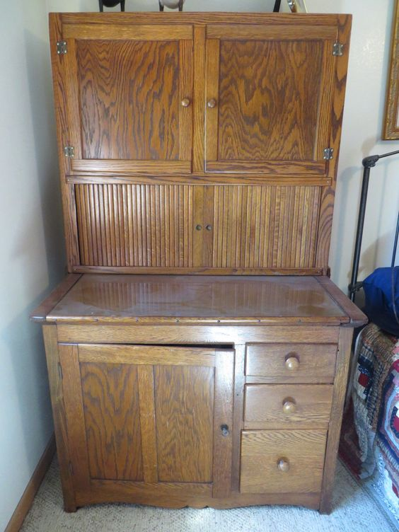Antique solid oak hoosier cabinet glass doors and 3 for Antique kitchen cabinets with flour sifter