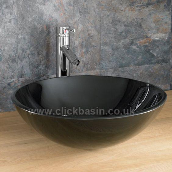 Stylish Round Black Glass Counter Top Basin 31cm Monza