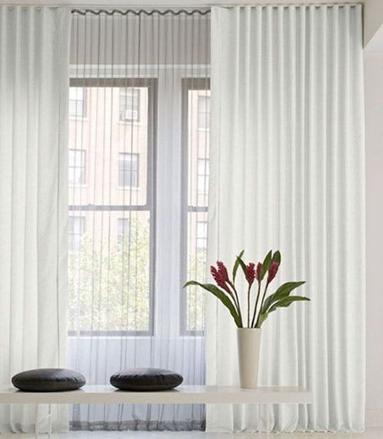 Apartment Decorating Ideas, Ceiling Hang Sheer Curtains