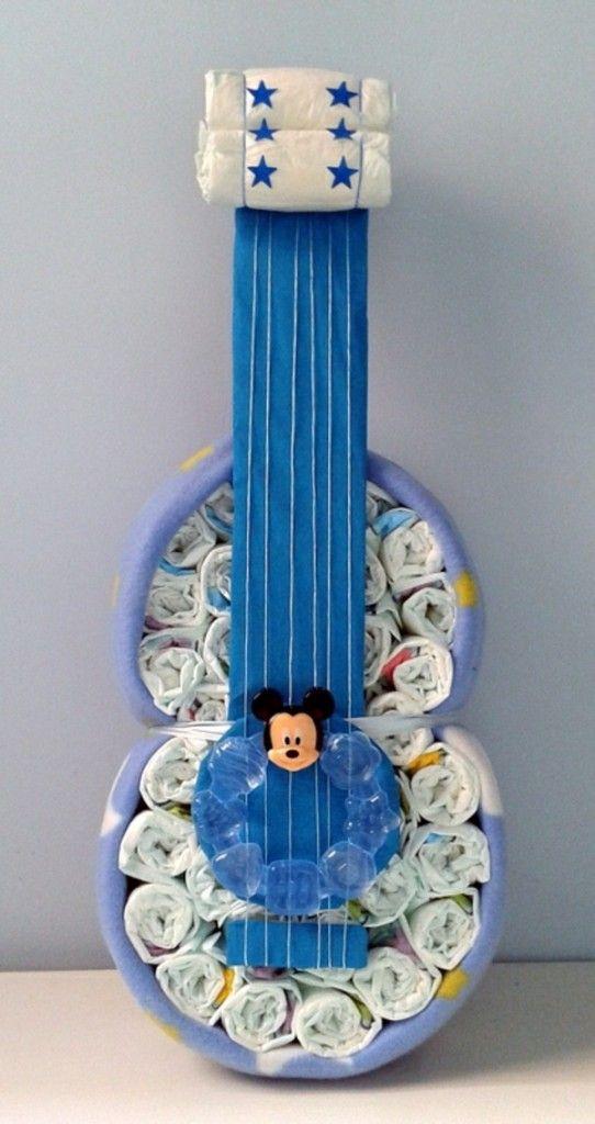 anleitung babygeschenke windeltorten geburt gitarre