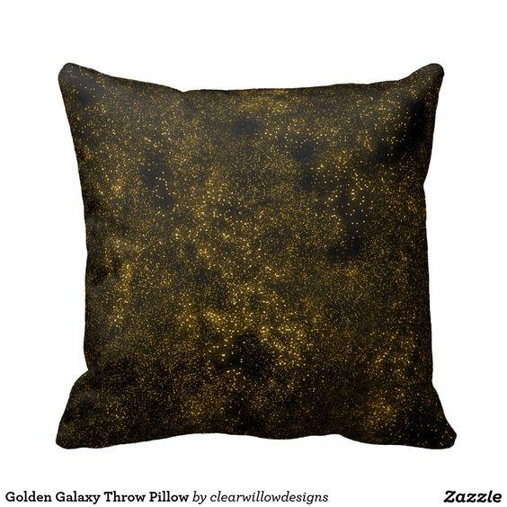 Golden Galaxy Throw Pillow