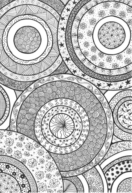 Circles coloring for adults and zentangles on pinterest for Circle pattern coloring pages