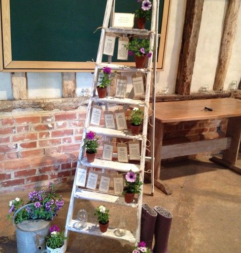 Wooden step ladder   shabby chic   for use as wedding table plan ...