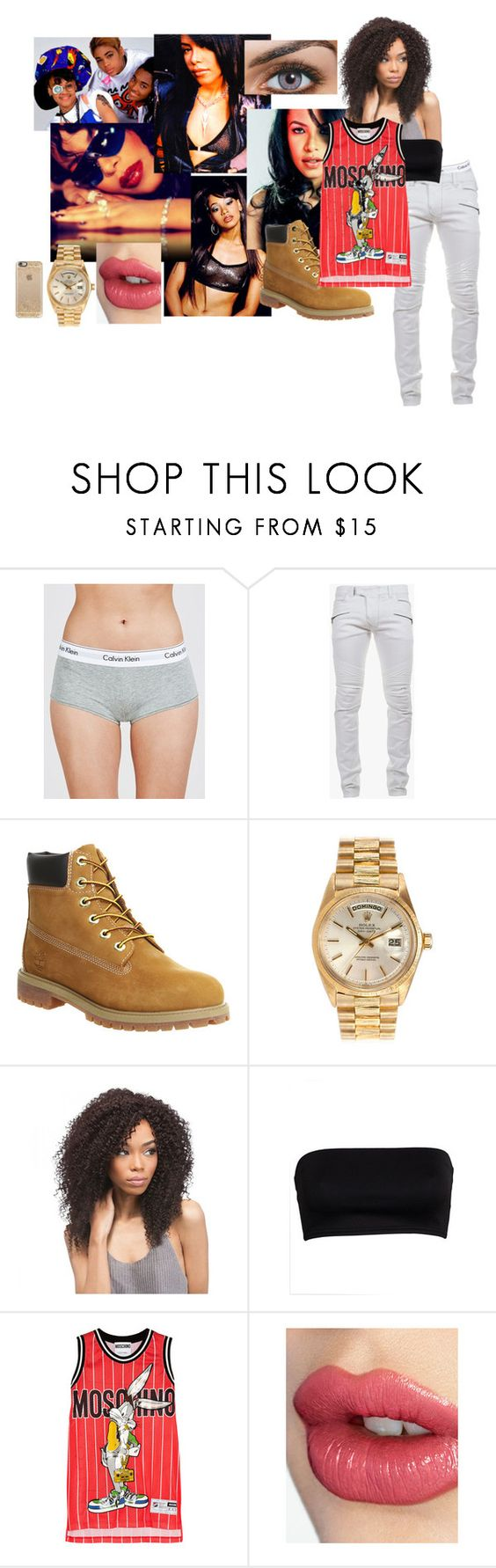 Tomboy Tabitha by urdreamgirl on Polyvore featuring Moschino, Calvin Klein Underwear, Timberland, Rolex, Casetify, Balmain and Charlotte Tilbury
