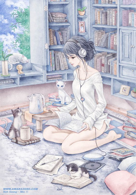 May (2009) © Seong-Min (Artist) via ArtZero, WonderPic Art Gallery, page 2. Manga, Girl, Bookshelves, Books, Cats, Music, CD Player. Cute :-):