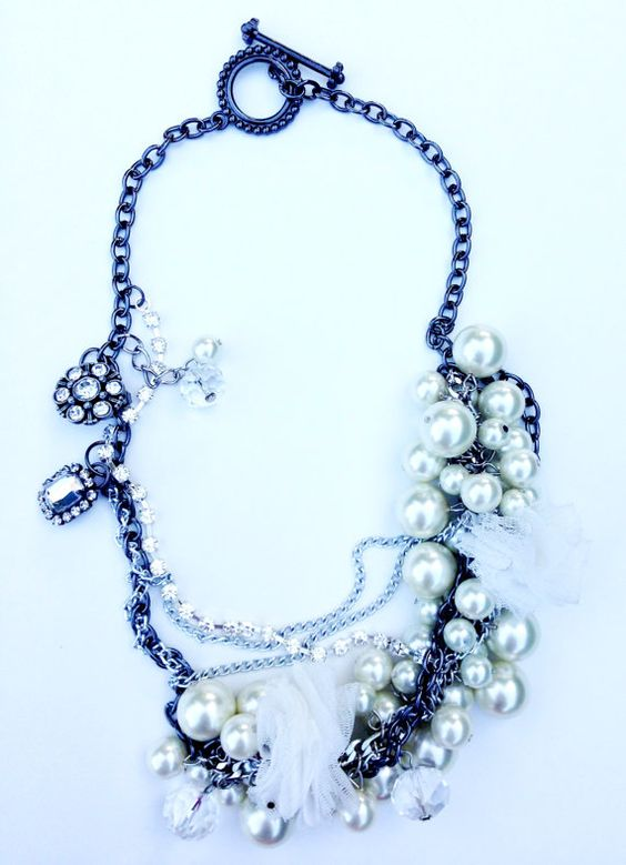 Handmade Pearl and Tulle Adornment on Silver by UnbiasedHeart, $45.00