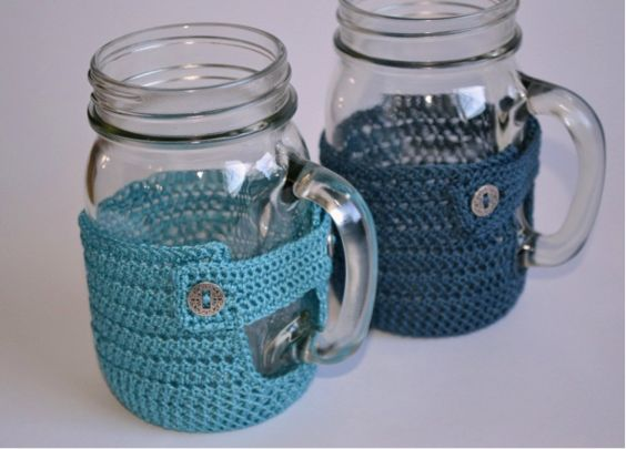His & Her Mason Mug Cozies - Pattern on Fillmore Container Blog