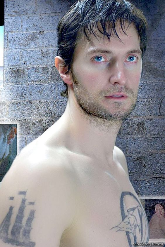 Damp and shirtless. (Ok - done torturing you for now. Gotta go make dinner. Bye! *runs away cackling*)