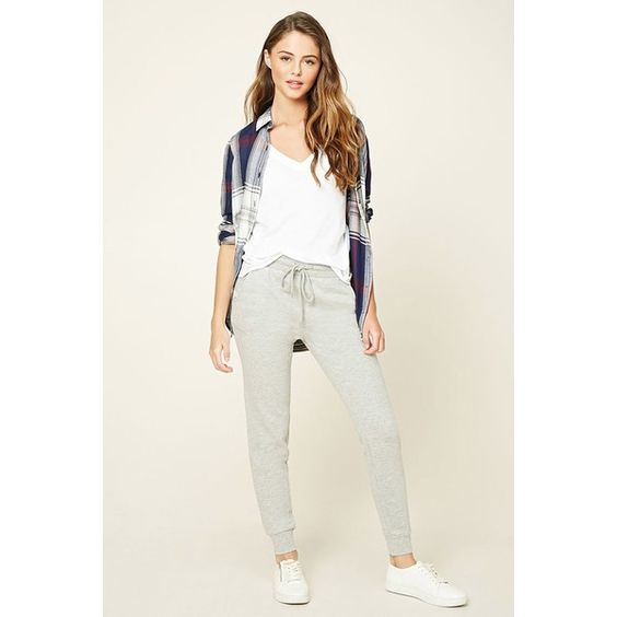 Forever21 French Terry Knit Sweatpants ($13) ❤ liked on Polyvore featuring activewear, activewear pants, heather grey, sweat pants, forever 21 activewear, forever 21 and french terry sweatpants