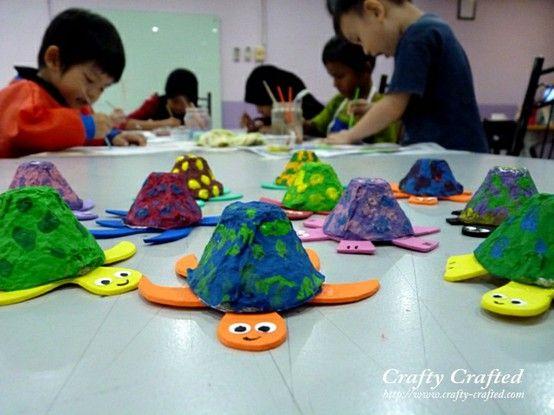 Turtle egg carton crafts