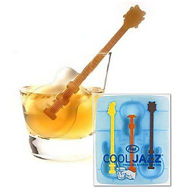 legal em forma de guitarra silicone molde bandeja de gelo