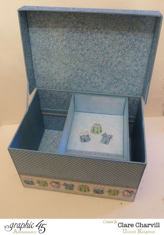 Love the shelf in this Precious Memories Baby Box by Clare Charvill #graphic45
