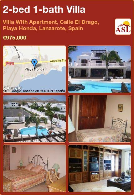 2-bed 1-bath Villa in Villa With Apartment, Calle El Drago, Playa Honda, Lanzarote, Spain ►€975,000 #PropertyForSaleInSpain