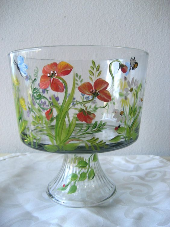 hand painted glass trifle bowl with wildflower pattern