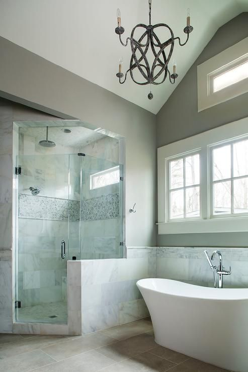 What makes small bath feel larger? Shower tile to ceiling