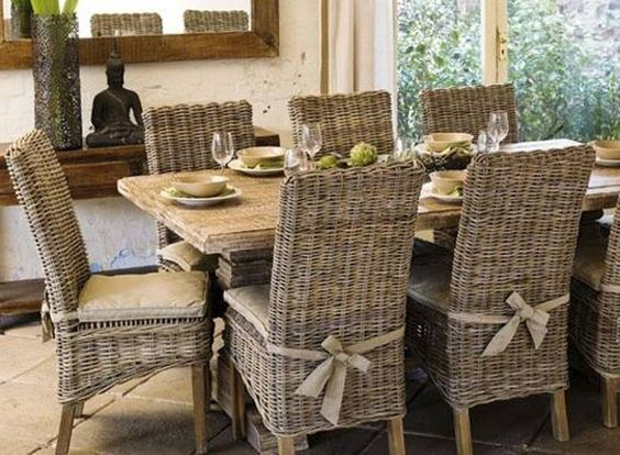 Rustic dining table and wicker parsons chairs parsons for Dining room table with wicker chairs