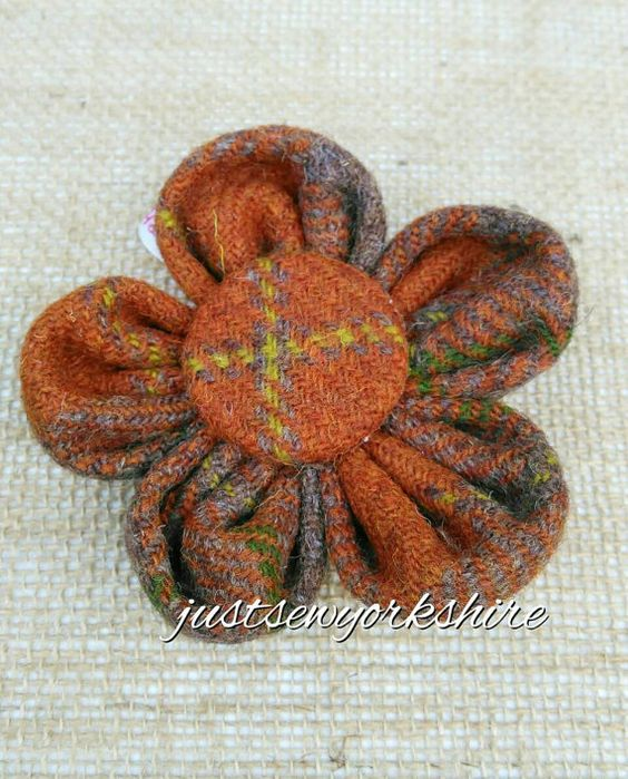 Handmade Rust Harris Tweed Fabric Flower by JustSewYorkshire