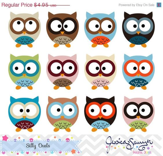 80% OFF - INSTANT DOWNLOAD, silly owl clipart, owl clip art, for commercial use, personal use, invites, card making, scrapbooking