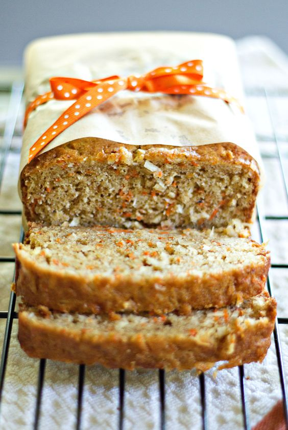 Carrot Coconut Bread with Cream Cheese Glaze.