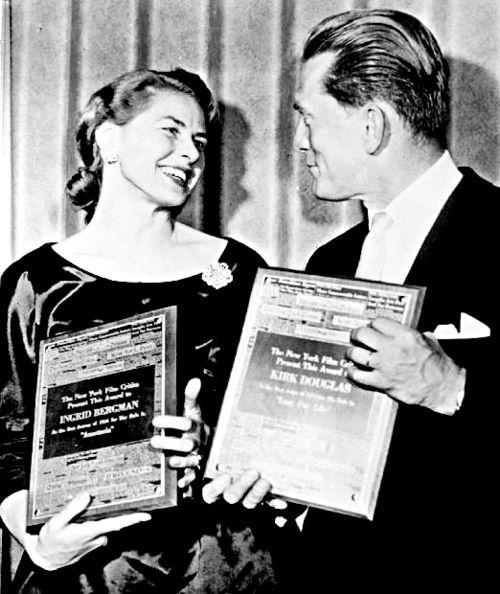 Ingrid Bergman and Kirk Douglas receive the New York Film Critics Awards for Best Actress and Actor