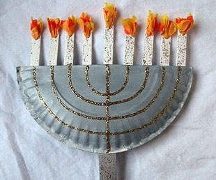 Chanukah crafts paper plate menorah kids holiday for Menorah arts and crafts