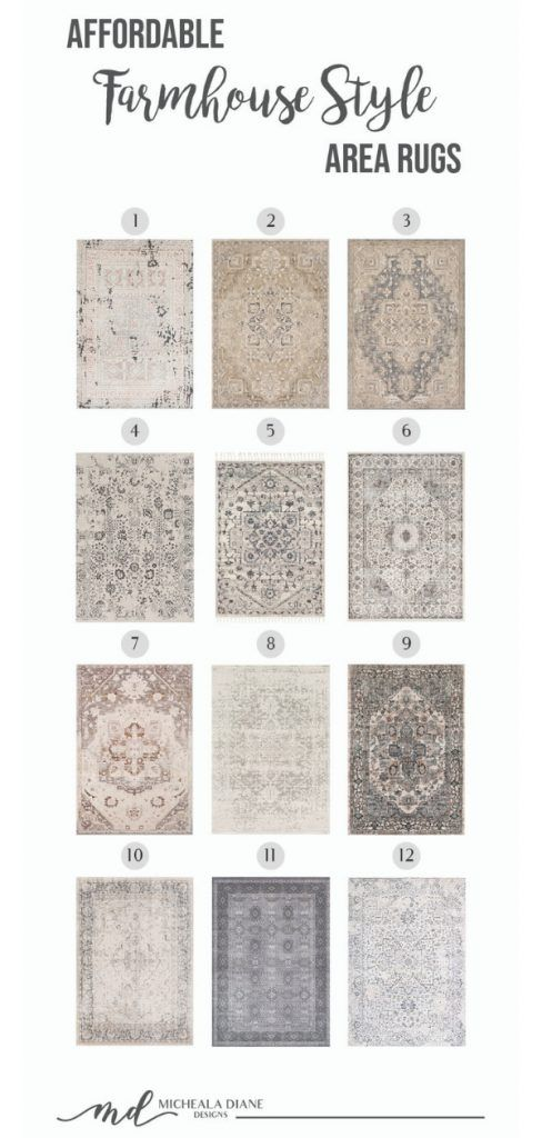 Collection of beautiful and affordable area rugs that are the perfect compliment to any farmhouse style look.