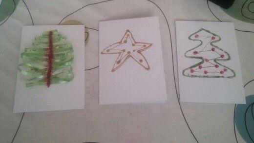 Handgemaakte kerstkaarten / hamdmade christmas card #handmade #homemade #diy #christmas #kerst #zelfgemaakt #glittercards