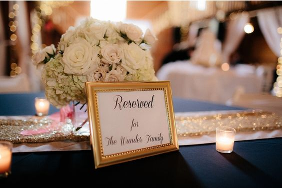 #kfb_events #Prattplacebarn #barnwedding #flowers #navyandgold #Mayweddings | hydrangea | roses | wedding reserved sign | gold glitter
