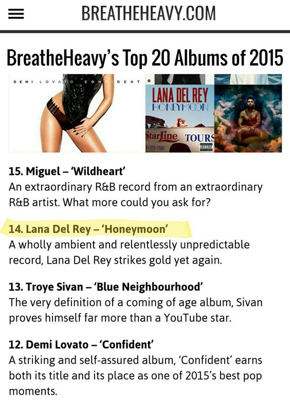 Lana Del Rey's 'Honeymoon' is on BreatheHeavy's list of top 20 albums of 2015! #LDR #news