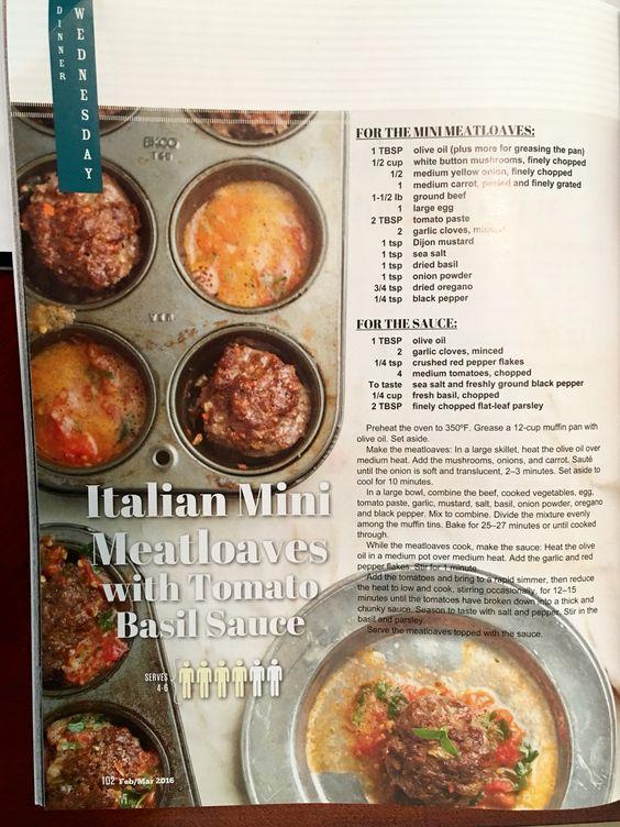 Italian Mini Meatloaves with Tomato Basil Sauce (Paleo Mag)