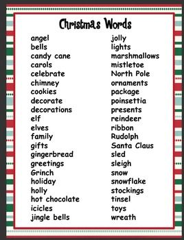 Christmas pictionary words unit 4 00 christmas word list free