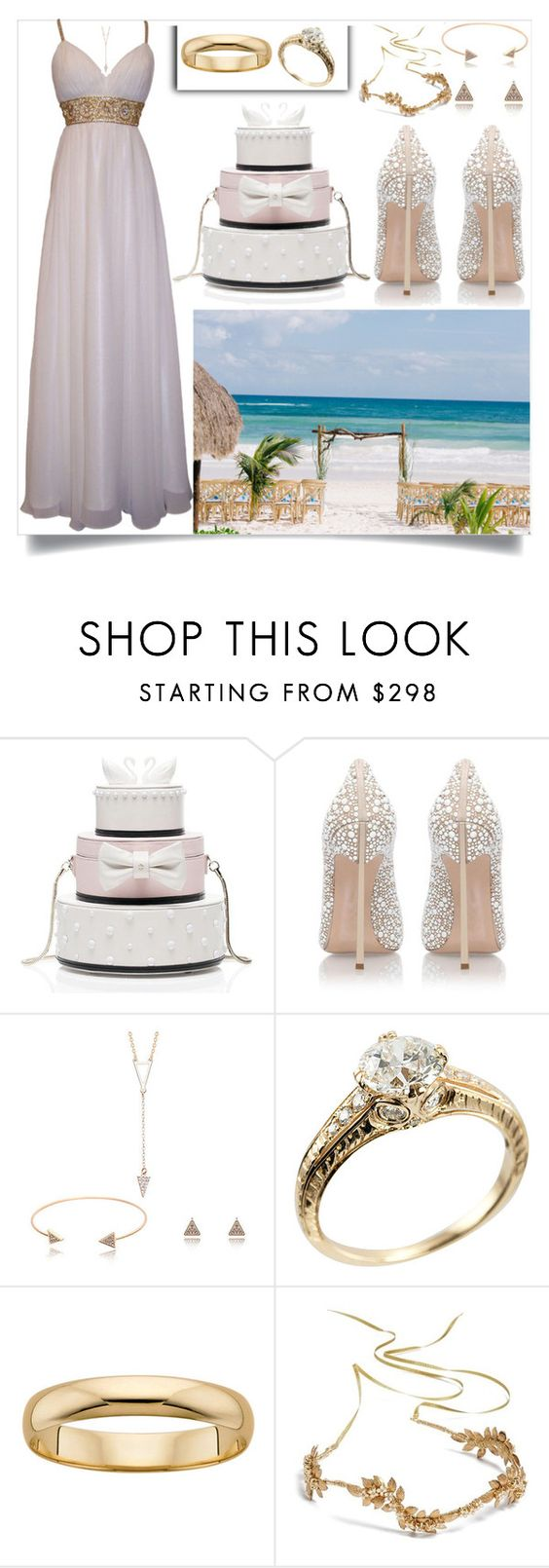 """Beach wedding"" by kawtar-el ❤ liked on Polyvore featuring Kate Spade, Casadei and Nestina"