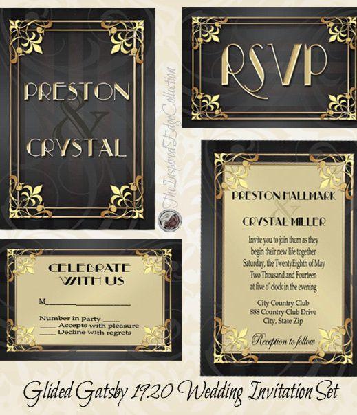 Gilded Gatsby 1920 Invitation