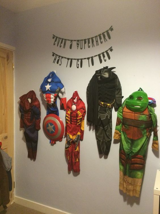 Avengers Bedroom Feature Wall For My Son Even A Superhero Has To Go To Bed Bedroom Ideas