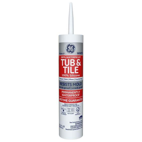 Ge Silicone 1 10 1 Oz White Tub And Tile Silicone Sealant Caulk Ge712 12c The Home Depot Silicone Caulk Tub Tile Caulk