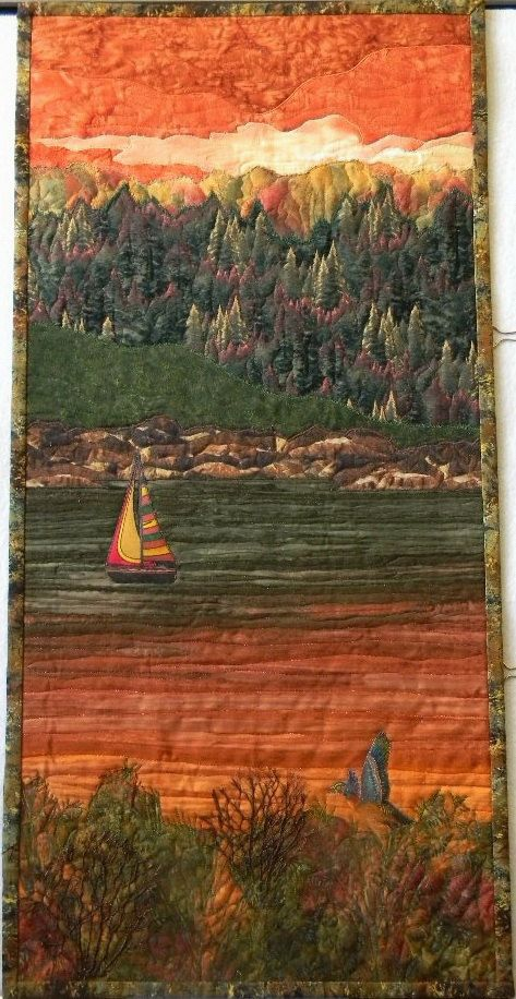 Landscape Quilt with Lake at Dawn, Sailboat, Trees, Rocks, Pheasant