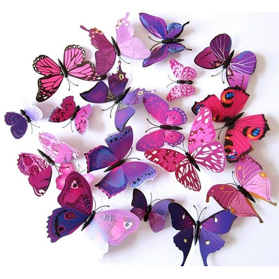 Amazon.com: WEMORE 24pcs Butterfly Wall Stickers Decor Art Decorations Removable DIY Home Decor Stickers for Kids Room Bedroom Colorful Purple: Home & Kitchen
