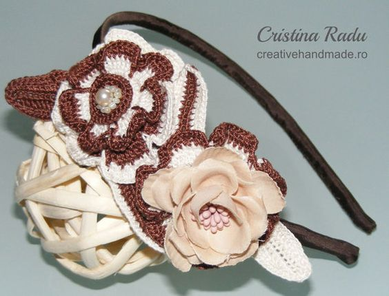 Headband, summer headband, crochet flower headband, statement headband, brown and creme spring headband, crochet hair accessory, girls gift