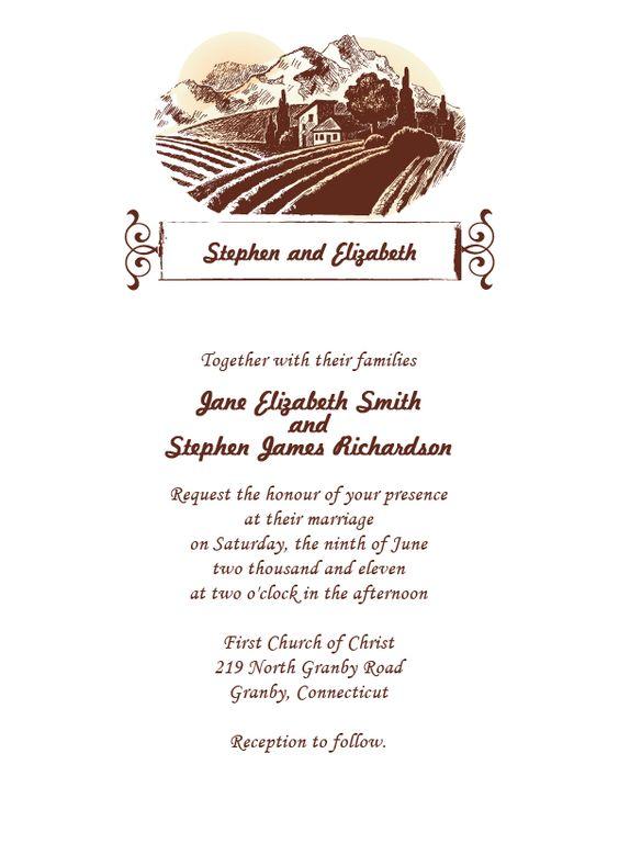 FREE PDF Download SonomaCountry Wedding Invitation Template – Wine Country Wedding Invitations
