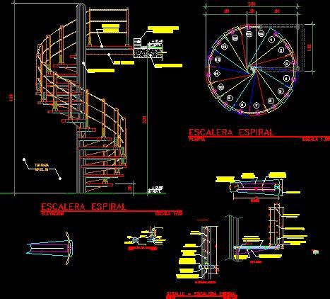 Escalera de caracol en dibujo de autocad bibliocad for Planos de escaleras en u